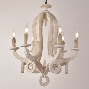Audrey Cottage Style Distressed White Wooden 6-Light/8-Light Chandelier with Candle Shaped Light