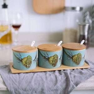 Bamboo Ceramics Condiment Hand painted ceramic bird Spice Jars Sauce pot Set Salt Pepper Shakers Seasoning Cooking Kitchen Tool