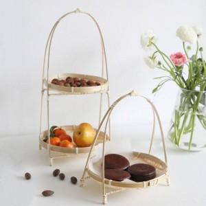 Bamboo Weaving Wicker Baskets Dish Handmade Home Decorate Storage Fruit Bread Food For Kitchen Organizer Panier Osier