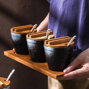 Bamboo Wood Ceramics Condiment Barrel shape Spice Jars Sauce pot Set Salt Pepper Shakers Seasoning Sprays Cooking Kitchen Tool