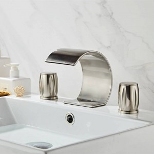 Basin Faucet 3 sets faucet double Handles Bathroom Waterfall faucet Nickel Finished three hole Bathroom faucet Crane Tap XR8244