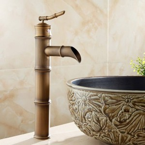 Basin Faucet Antqiue Brass Bamboo Waterfall Bathroom Sink Faucet Single Lever Deck Bath Toilet Mixer Water Tap WC Taps ZLY-6660