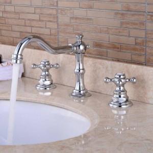 Basin Faucet Chrome color Solid Brass Faucet Antique European Basin Mixer Double Handle Deck Bathroom Sink Mixer Tap XR8223