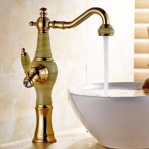Basin Faucet Golden Brass Jade Body 360 Degree Swivel Bathroom Basin Faucet Deck Mount Countertop Water Mixer Tap LH-17040