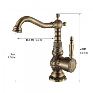 Basin Faucets Antique Brass Bathroom Faucet Grifo Lavabo Tap Rotate Single Handle Hot and Cold Water Mixer Taps Crane LAD-9966F