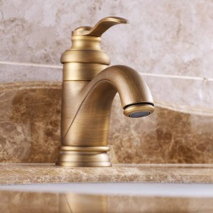 Basin Faucets Antique Brass Bathroom Sink Faucets Single Handle Deck Mounted Bath Wash Hot Cold Mixer Water Tap WC Taps ZLY-6636