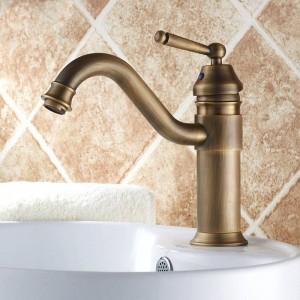 Basin Faucets Antique Brass Bathroom Sink Faucets Single Handle Vintage Deck Mount Torneiras Hot Cold Bath Mixer Water Tap 6632F
