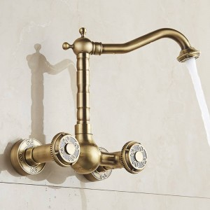 Basin Faucets Antique Brass Wall Mounted Kitchen Bathroom Sink Faucet Dual Handle Swivel Spout Hot Cold Water Mixer Tap LAD-18003