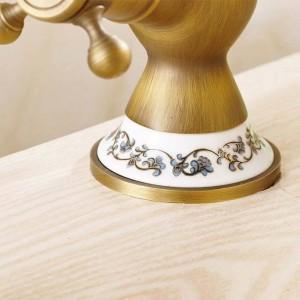 Basin Faucets Antique Bronze Brass Bathroom Sink Faucet 360 Degree Swivel Dual Handle Kitchen Washbasin Mixer Taps WC Taps H-15