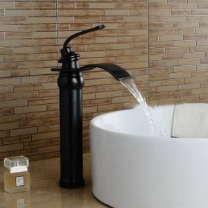 Basin Faucets Bathroom Basin Sink Brass Mixer Tap Hot Cold Black Faucet Waterfall Mixer Bathroom Faucet