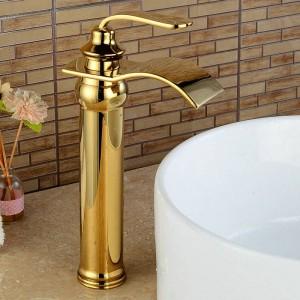 Basin Faucets Bathroom Basin Sink Brass Mixer Tap Hot Cold Golden Polish Faucet Waterfall Mixer Bathroom Faucet