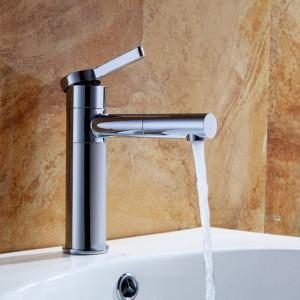 Basin Faucets Brass Bathroom Faucet Vessel Sinks Mixer Vanity Tap Swivel Spout Deck Mounted White Color Washbasin Faucet LAD-701L