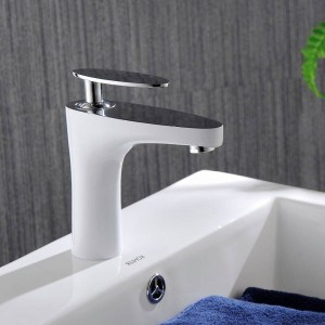 Basin Faucets Brass Elegant Golden White Bathroom Sink Faucet Single Handle Washbasin Hot Cold Mixer Water Tap Crane YLS822-11WK