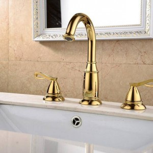Basin Faucets Brass Golden 3 Holes Double Handle Bathroom Sink Faucet Luxury Bathbasin Bathtub Taps Hot Cold Mixer Water XR8220