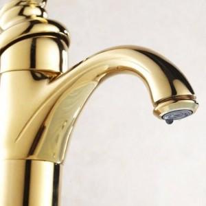 Basin Faucets Brass Golden Contemporary Bathroom Sink Faucet Single Handle Deck Mounted Bath Toilet Mixer Water Taps HJ-6637K