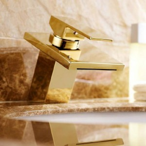 Basin Faucets Brass Golden Waterfall Bathroom Sink Faucet Single Lever Square Spout Toilet Hot Cold Mixer Water Taps LAD-501-1