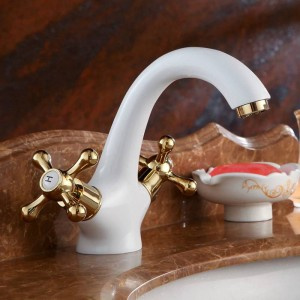 Basin Faucets Brass White Bathroom Sink Faucet Dual Handle Deck Mount Bath Washbasin Hot Cold Mixer Water Tap WC Taps HJ-6655K