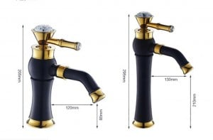 Basin Faucets Brass White Paint Golden Bathroom Sink Faucet Crystal Single Lever Rotate Spout Mixer Tap Hot Cold Water LAD-7309DK
