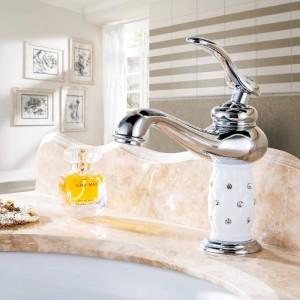 Basin Faucets Brass with Diamond Bathroom Faucet Black Mixer Tap Single Handle Hot & Cold Washbasin Tap torneiras banheiro 7301