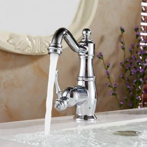 Basin Faucets Chrome Silver Brass Bathroom Sink Faucet Single Handle Swivel Hot Cold Mixer Water Tap Banheiro Torneira LH-6003L