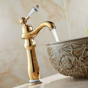 Basin Faucets Deck Mounted Gold Faucet For Bathroom Single Handle Single Hole Basin Mixer Tap Hot And Cold Water Taps LAD-7318K