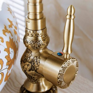 Basin Faucets Deck Mounted Single Handle Bathroom Basin Mixer Tap Antique Bronze Crane High Quality Hot & Cold Water LAD-9988F