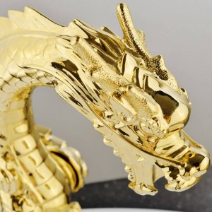 Basin Faucets Deck Mounted Single Handle Gold Finish Dragon Head Style Bathroom Sink Faucet Basin Water Mixer Tap LC-69D2-A