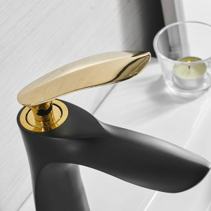 Basin Faucets Elegant Bathroom Faucet Hot and Cold Water Basin Mixer Tap Black Finish Brass Toilet Sink Water Crane Gold 220