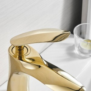 Basin Faucets Elegant Gold Bathroom Faucet Hot and Cold Water Basin Mixer Tap Chrome Finish Brass Toilet Sink Water Crane 220K