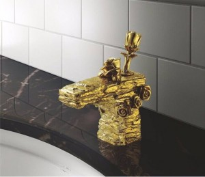 Basin Faucets Gold Brass Deck Mount Waterfall Bathroom Sink Faucet Rose Rocker Single Handle Cold Hot Water Mixer Tap LC-66D1-A