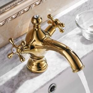 Basin Faucets Gold Dual Handle Faucet Single Hole Torneiras Para Banheiro Basin Mixer Tap Water Tap Llaves Para Lavab LAD-855017K