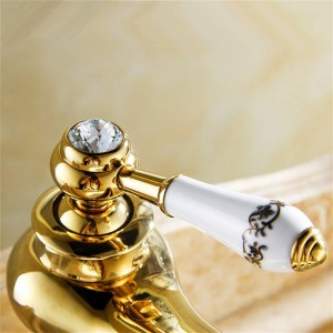 Basin Faucets Modern Faucet Bathroom Faucet Gold Finish Hot & Cold Brass Basin Sink Faucet Single Handle with Ceramic Taps M-16K