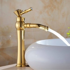 Basin Faucets Modern Gold Color Deck Mounted Bathroom Mixer Faucets Black Finish With Diamond High Bathroom Sink Faucet 327