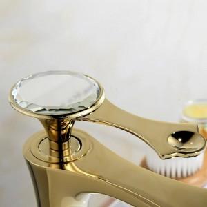 Basin Faucets Modern Gold Faucet Single Hole Bathroom Faucets Black Bathroom Sink Mixer Taps Diamond on Handle Top LAD-18055