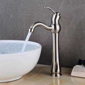 Basin Faucets ORB/Nickel/Black Brass Deck Mount Bathroom Sink Faucet Single Handle 1 Hole Vintage Hot &Cold Mixer Tap XT981