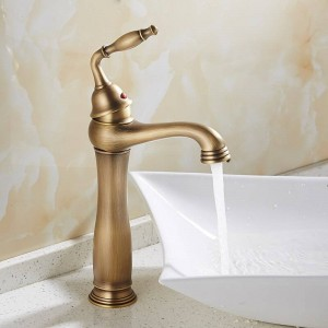 Basin Faucets Solid Brass Deck Mount Bathroom Sink Faucet Single Handle 1 Hole Easy Install Vintage Antique Mixer Tap 9220F
