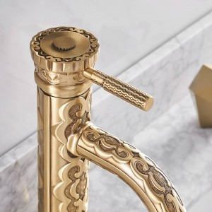 Basin Faucets Solid Brass Antique Bathroom Faucet Single Handle European Hot and Cold Water Basin Mixer Tap LA10128AAB
