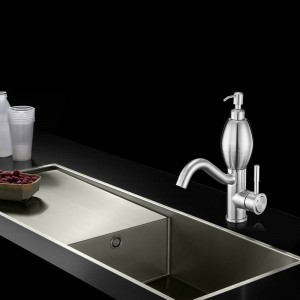 Basin Faucets Stainless Steel 304 Basin Tap with Soap Dispenser New Brushed Nickel Single hole Faucet Water Mixer Tap 58816