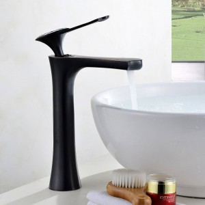 Basin Faucets White Painted Waterfall Faucet Single Hole Single Handle Basin Faucet Crystal Handle Silver Mixer Tap LAD-18056