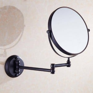 "Bath Mirrors 3 x Magnifying Mirror of Bathroom Makeup Mirror Folding Shave 8"" Dual Side Antique Brass Wall Round Mirrors 9136"