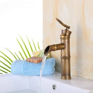 Bathroom bamboo shape faucet Basin Mixer Taps Antique Brass Finished Hot&Cold Mixer Taps Deck Mounted Faucet XT901