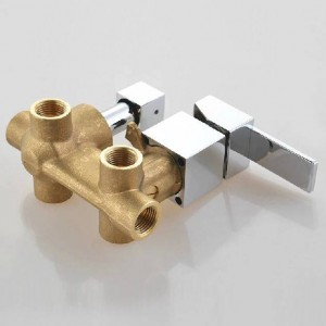 Bathroom bath in-wall mixer control valve panel shower faucet 3 outlets solid brass concealed wall mounted