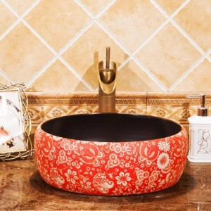 Bathroom Lavabo Ceramic Counter Top Wash Basin Cloakroom Hand Painted Vessel Sink bathroom sinks vintage vanity sink red