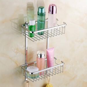 Bathroom Shelves 2 Tier Racks Gold Brass Towel Hook Washing Shower Basket Cosmetic Holder Bathroom Accessories Wall Shelf HJ-834