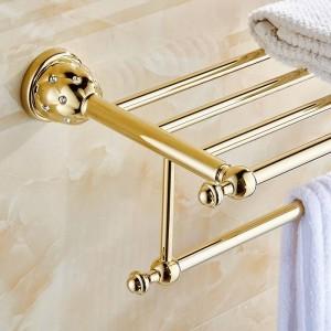Bathroom Shelves 2 Tier Solid Brass Gold Towel Racks Bath Shelf Towel Holder Hanger Wall Mounted Luxury Home Deco Towel Bar 5212