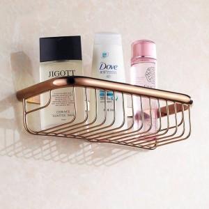 Bathroom Shelves 30cm Single Tier Solid Brass Shower Basket Bath Soap Shampoo Storage Holder Wall Mounted Bathroom Shelf HJ-830