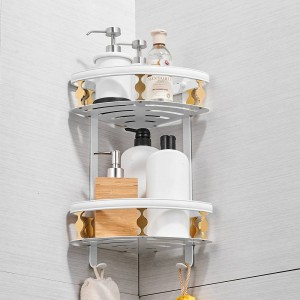Bathroom Shelves Aluminum 2 Tiers Corner Shelf Shower Caddy Storage Shampoo Basket Wall Kitchen Corner Sticky Holder 811015