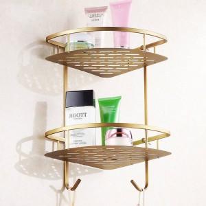 Bathroom Shelves Antique Brass Wall Mounted Shower Corner Shelf Towel Hooks Basket Bathroom Accessories Towel Holder HJ-823