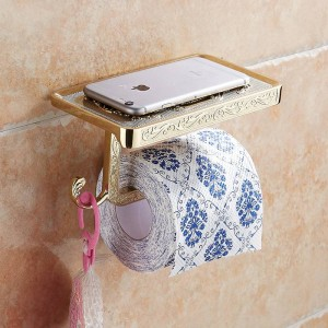 Bathroom Shelves Antique Carving Toilet Roll Paper Rack with Phone Shelf Wall Mounted Bathroom Paper Holder Hook Useful WF1018