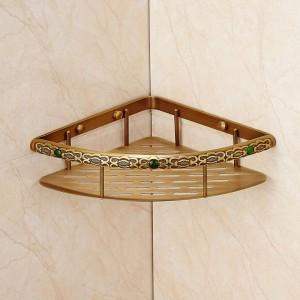 Bathroom Shelves Brass Wall Mount Kitchen Corner Shelf Shower Storage Single Tier Shampoo Basket Holder Accessories FE-8626